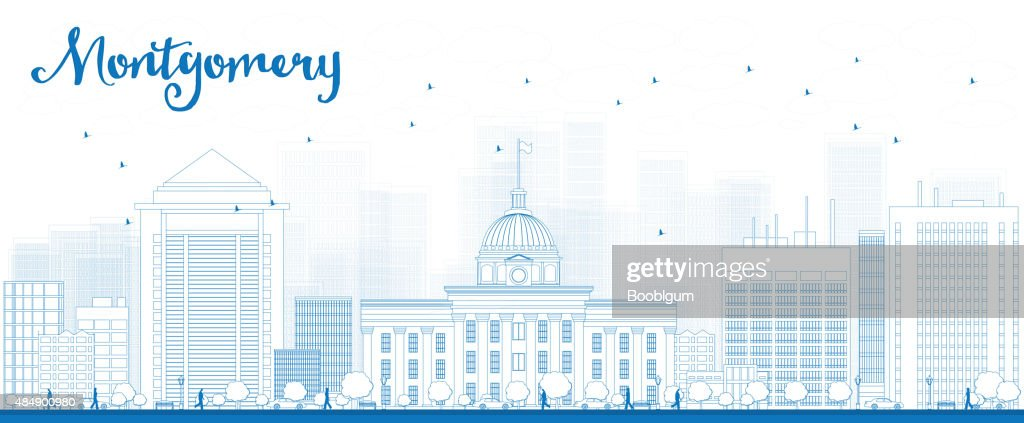 Outline Montgomery Skyline with Blue Buildings