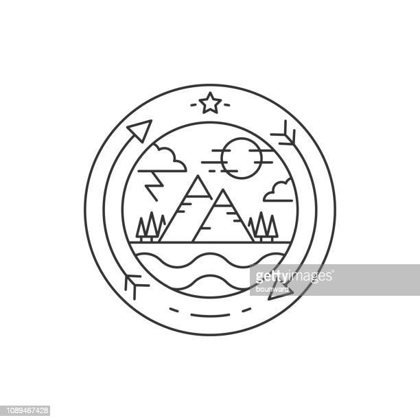 outline mountain summer logo - mountain logo stock illustrations