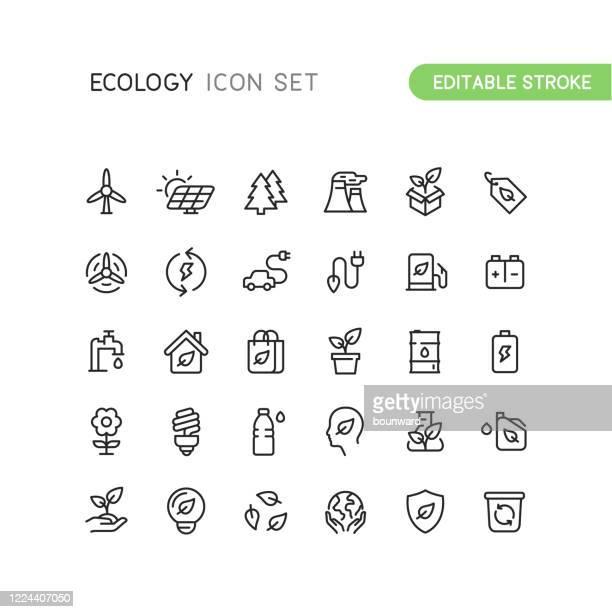 outline nature ecology icons editable stroke - umwelt stock-grafiken, -clipart, -cartoons und -symbole