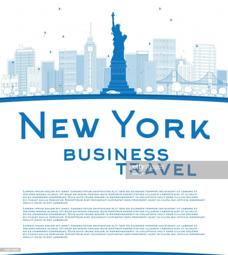 Outline New York city skyline with blue buildings