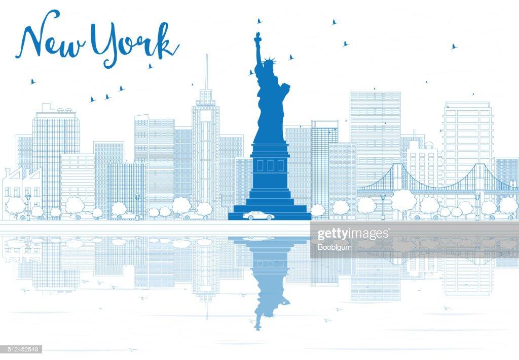 Outline New York city skyline with blue buildings.