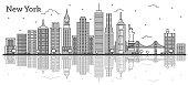 Outline New York USA City Skyline with Modern Buildings Isolated on White.