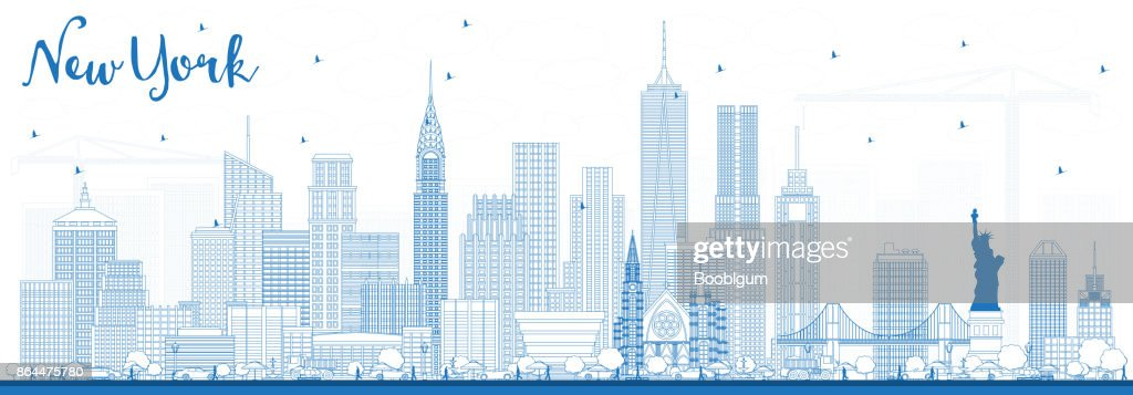 Outline New York USA Skyline with Blue Buildings.