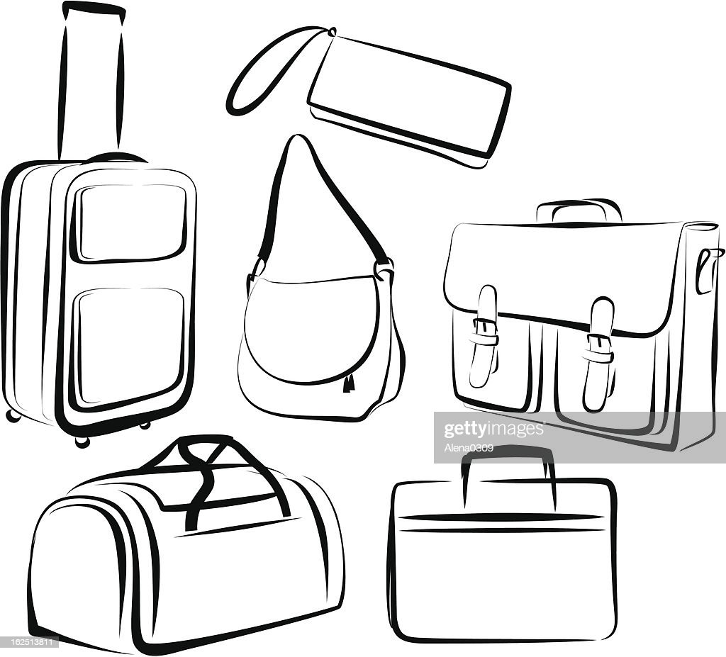 Outline of drawing of set of bags in black and white