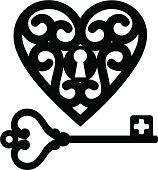 Outline of key and locket shaped as hearts