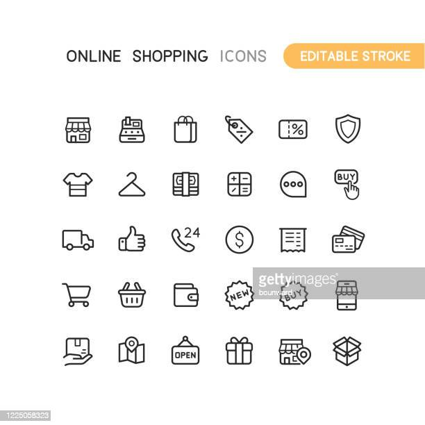 outline online shopping icons editable stroke - shopping stock illustrations