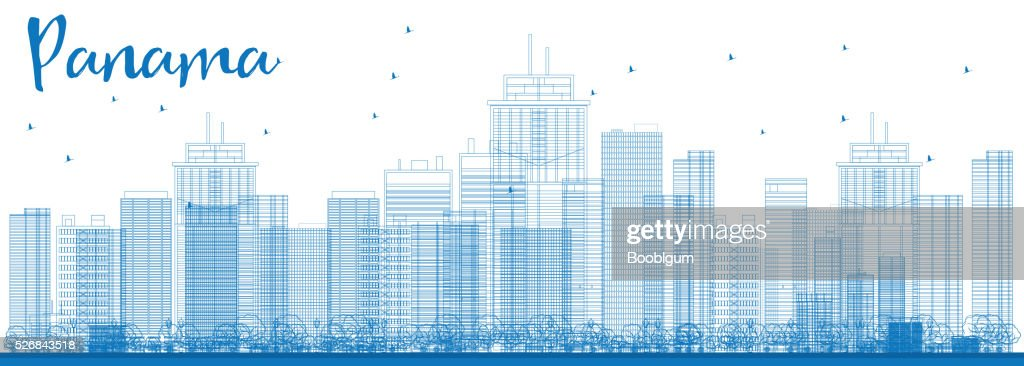 Outline Panama City skyline with blue skyscrapers.