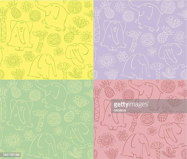 outline pattern of elephants - cartoon characters with big noses stock illustrations, clip art, cartoons, & icons