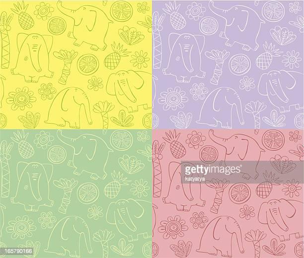 Outline pattern of elephants