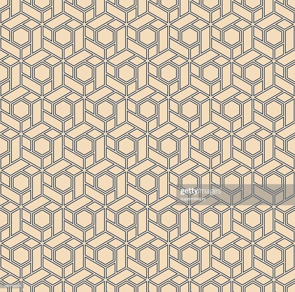 outline pattern of hexagonal blocks