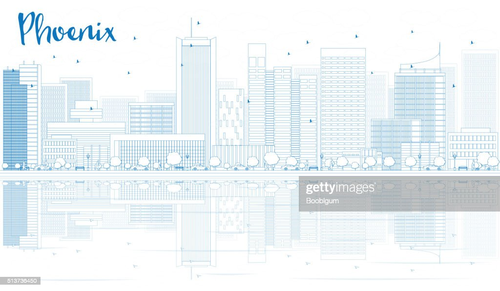Outline Phoenix skyline with blue buildings and reflections.
