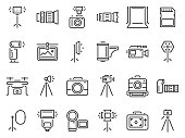 Outline photo icons. Photography studio light, film cameras and camera on tripod line icon vector set