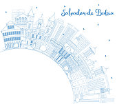 Outline Salvador de Bahia City Skyline with Blue Buildings and Copy Space.