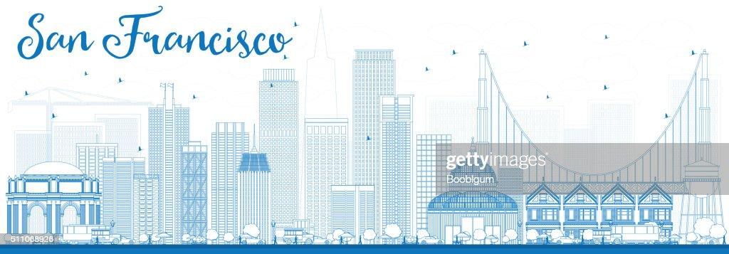 Outline San Francisco Skyline with Blue Buildings.