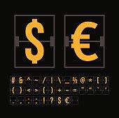 Outline scoreboard symbols flat alphabet mechanical panel