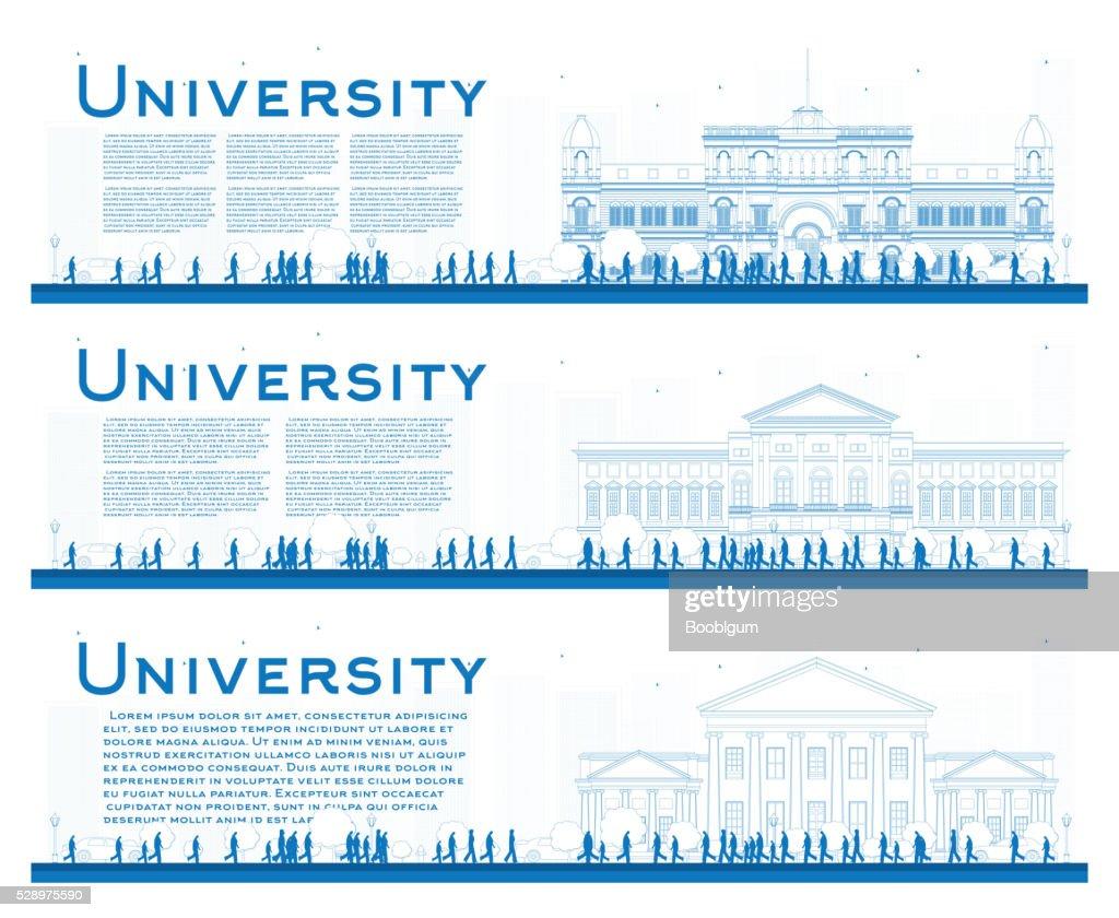 Outline set of university study banners. Vector illustration.