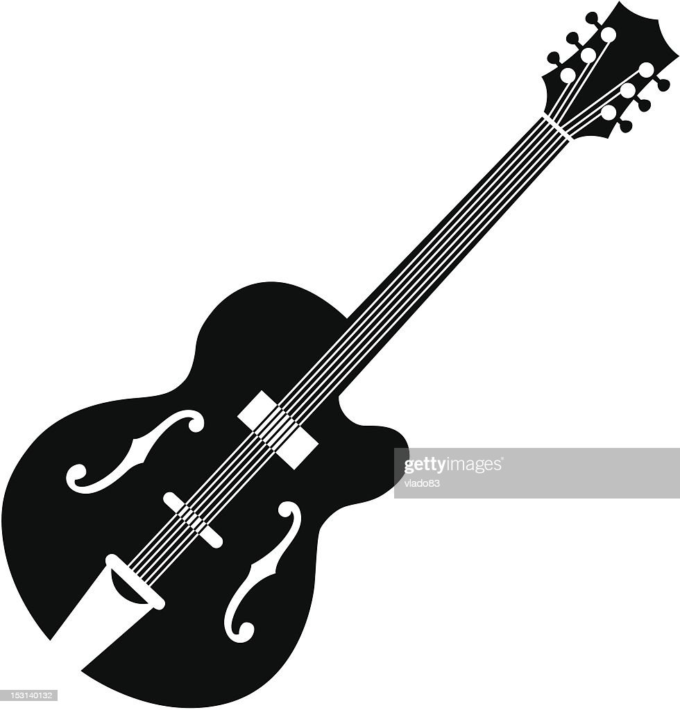 Outline siIlhouette graphic of an acoustic guitar on white