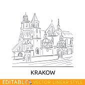 Outline sketch Krakow. Famouse building. Wawel Royal Castle Tourism in