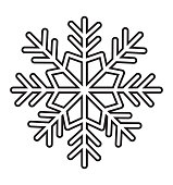 Outline snowflake icon isolated on white background vector illustration