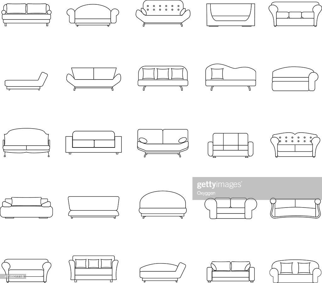 Outline sofa icons set