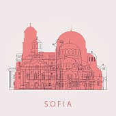 Outline Sofia skyline with landmarks. Vector illustration. Business travel and tourism concept with historic buildings. Image for presentation, banner, placard and web site.