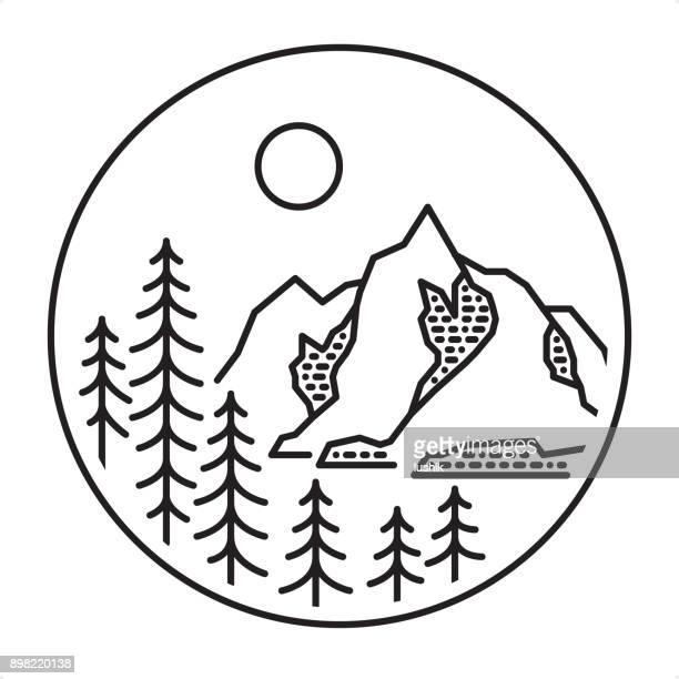 outline style mountain forest landscape - wonderlust stock illustrations