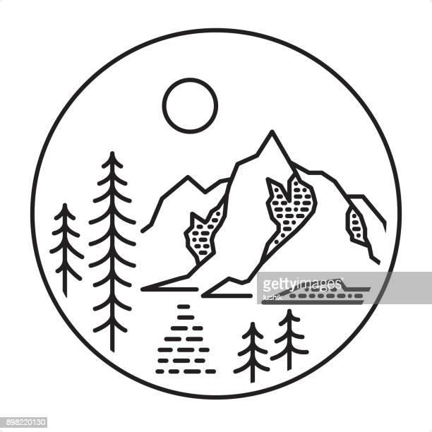 ilustraciones, imágenes clip art, dibujos animados e iconos de stock de icono de lago de montaña de estilo de contorno - lago