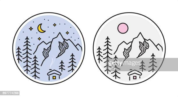 outline style mountain landscape. day and night version - wonderlust stock illustrations