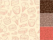 Outline sweet seamless pattern