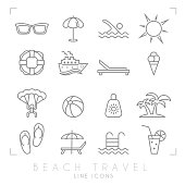 Outline thin travel and vacation icons set. Sunglasses, umbrella, swim, sun, lifebuoy, ship, desk chair, ice cream, air sports, ball, sun cream, palms, flip flops, pool, bar and cocktail.
