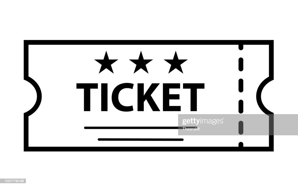 outline ticket icon on white background. ticket sign. flat style. cinema symbol. ticket icon for your web site design, logo, app, UI.