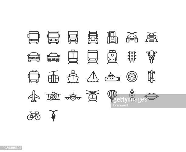 stockillustraties, clipart, cartoons en iconen met overzicht transport pictogrammen - frontaal