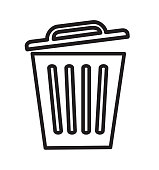 Outline trash icon delete vector for web site design, app isolated