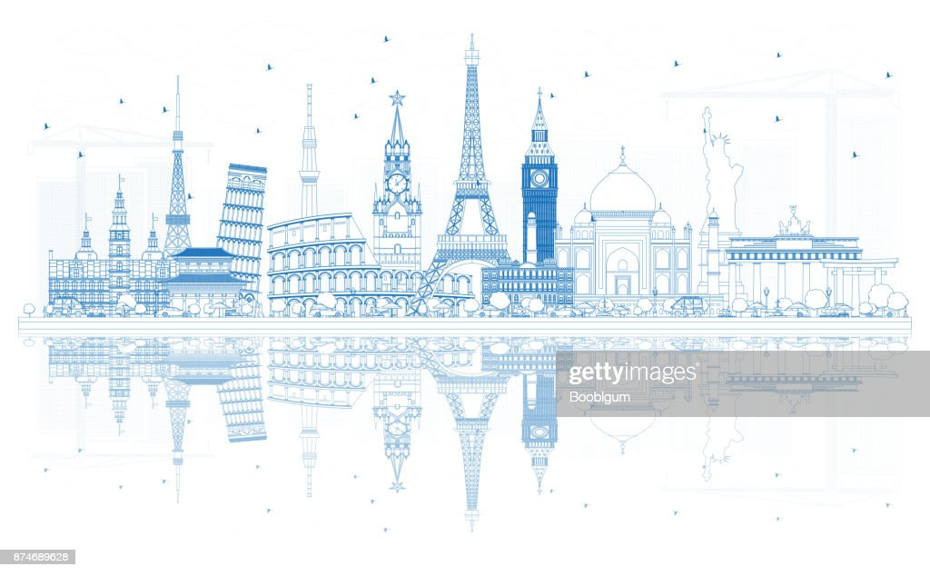 Outline Travel Concept Around the World with Famous International Landmarks.