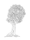 outline  tree with flowers, mandalas and leaves