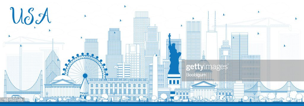 Outline USA Skyline with Blue Skyscrapers and Landmarks.
