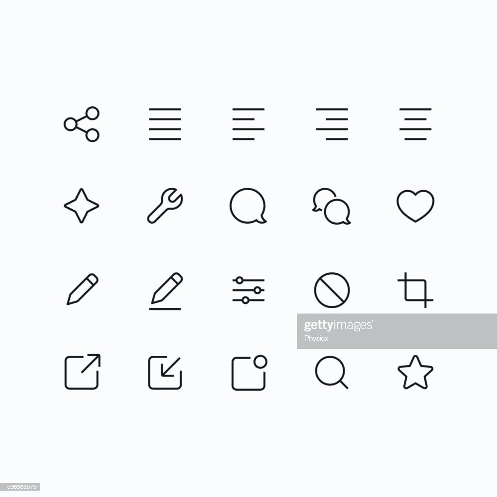 Outline vector icons for mobile