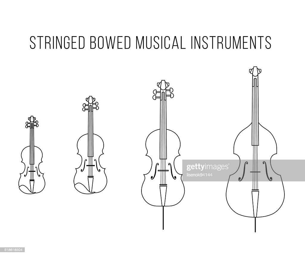Outline Vector StringedBowed Musical Instruments