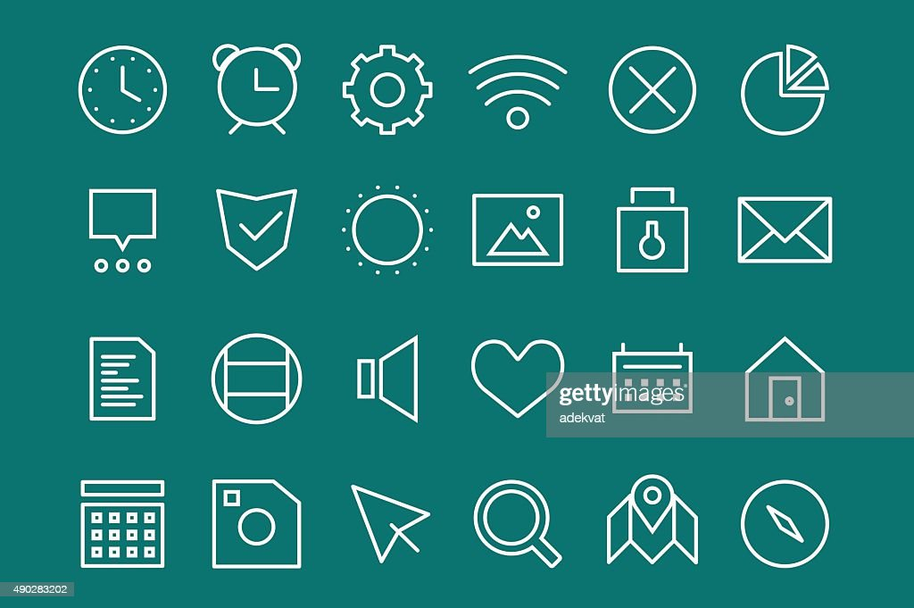 Outline vector UI user interface technology white icons set bundle