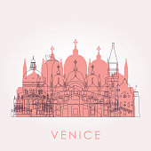 Outline Venice skyline with landmarks. Vector illustration. Business travel and tourism concept with historic buildings. Image for presentation, banner, placard and web site.