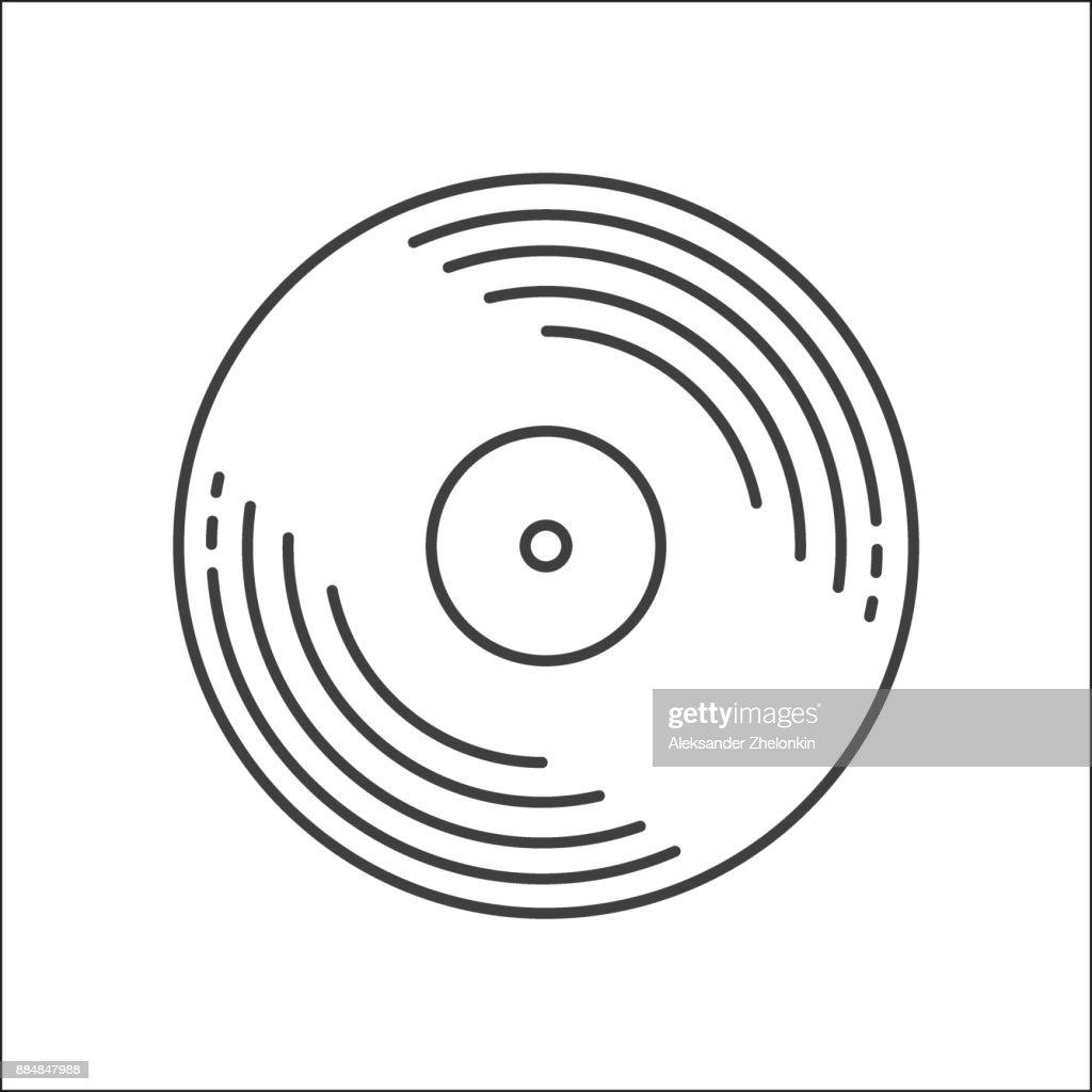 Outline Vinyl disc icon. Logo for web or app. Outline style. Disco music vinyl isolated on white background. Illustration