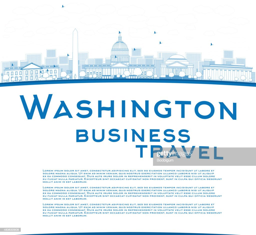 Outline Washington DC city skyline with copy space