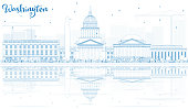 Outline Washington DC Skyline with Blue Buildings and Reflection