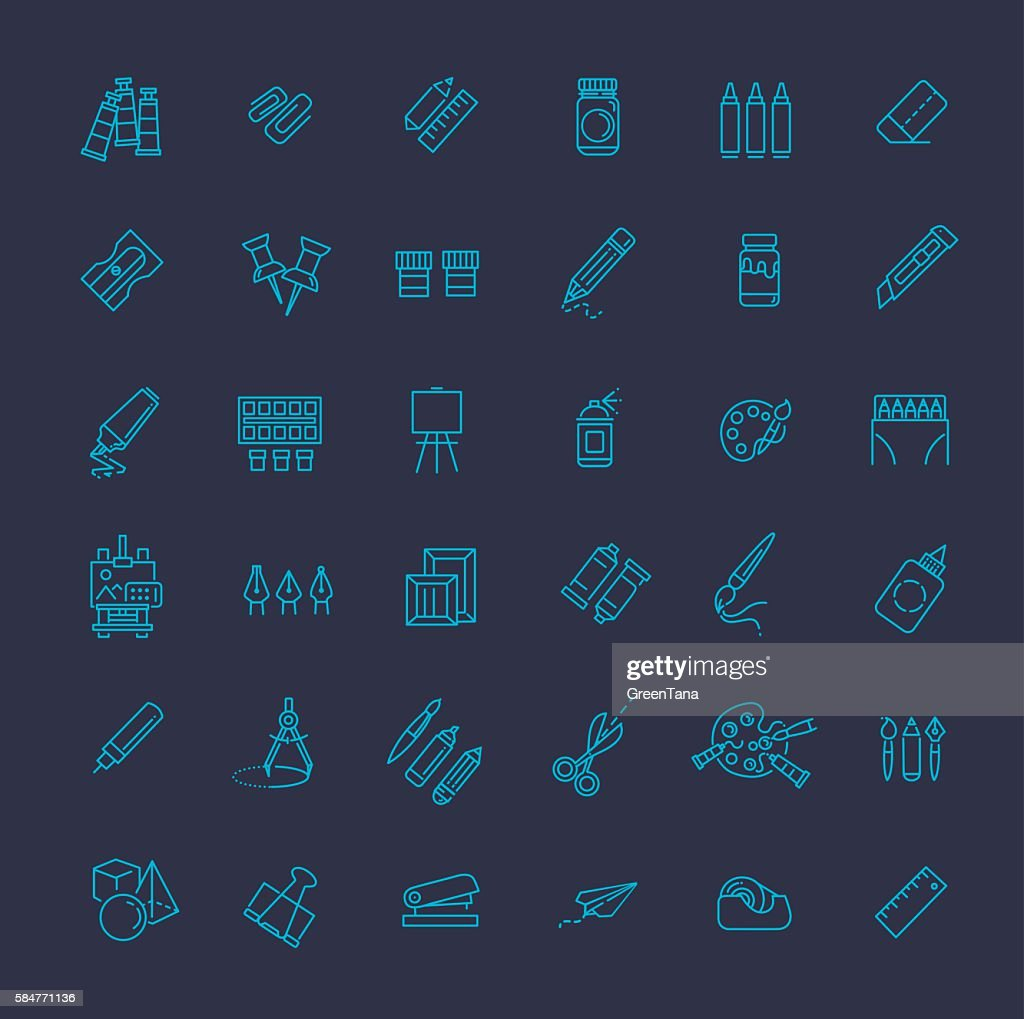 Outline web icon set - drawing tools