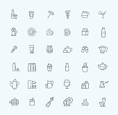 Outline web icon set - drink (coffee, tea, alcohol)
