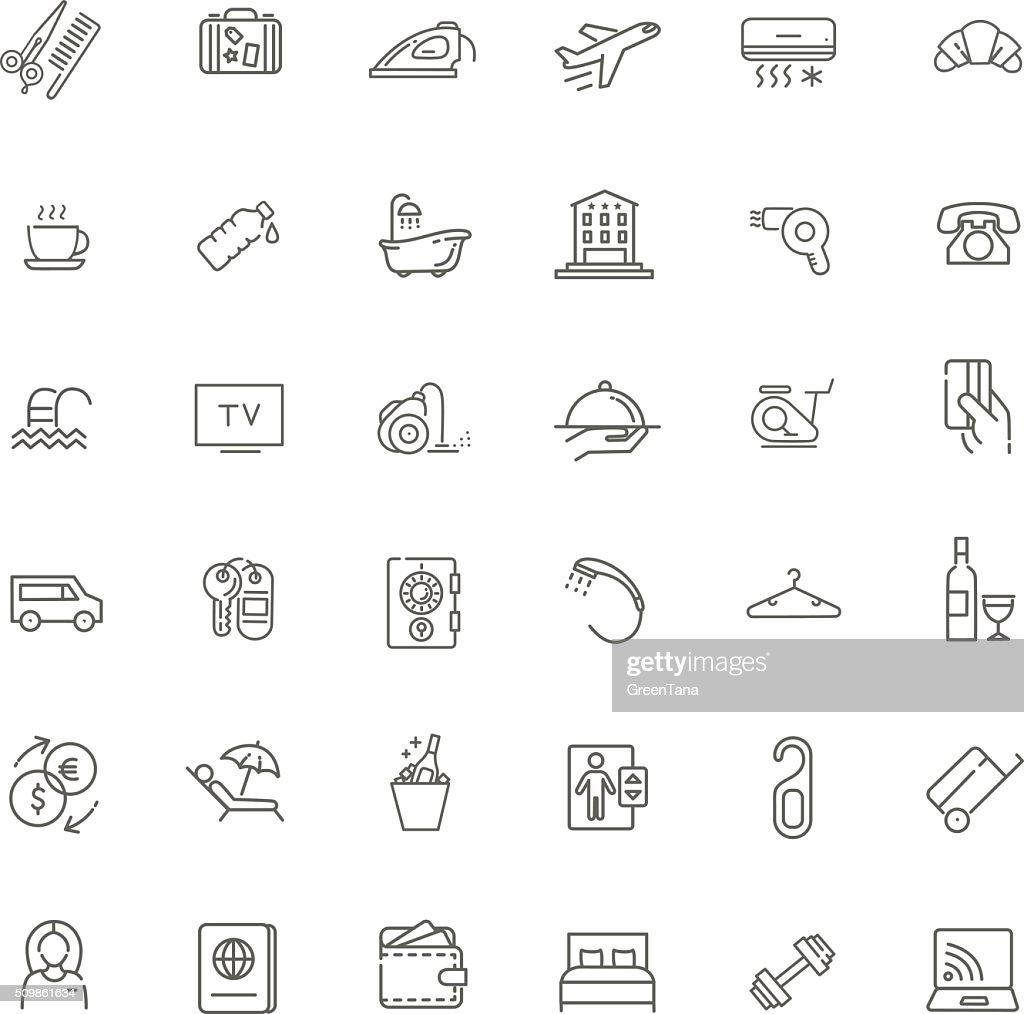 Outline web icon set - Hotel services