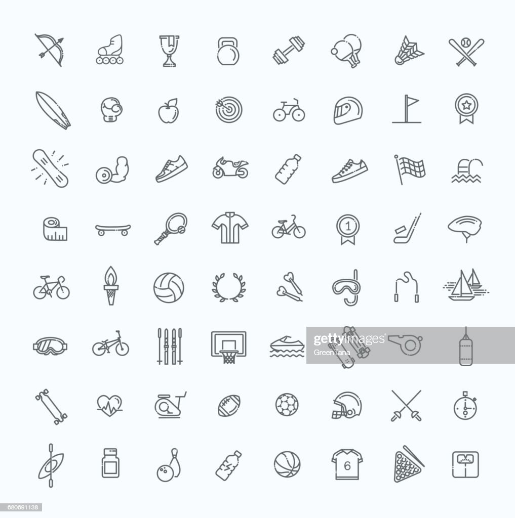 Outline web icon set - sport and fitness