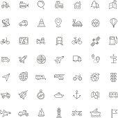 Outline web icons set - navigation, location, transportation