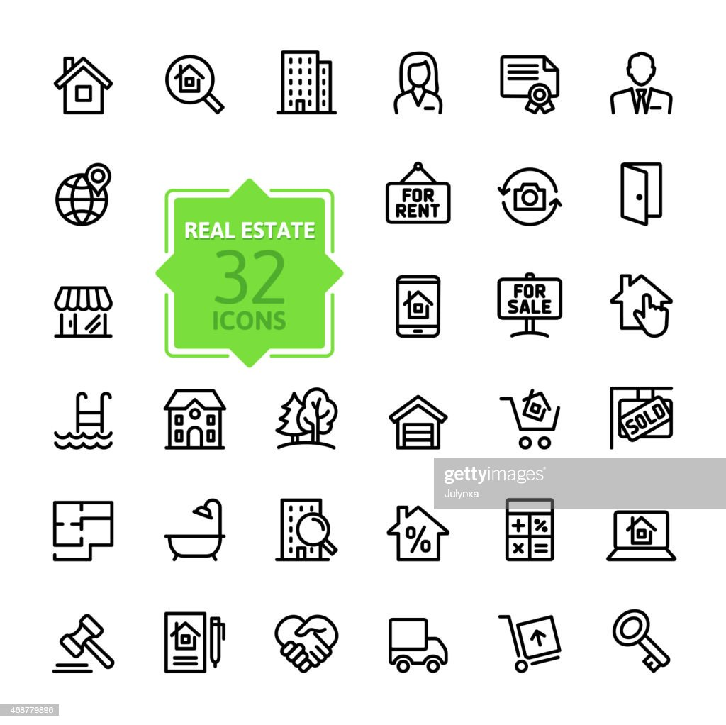 Outline web icons set - Real Estate