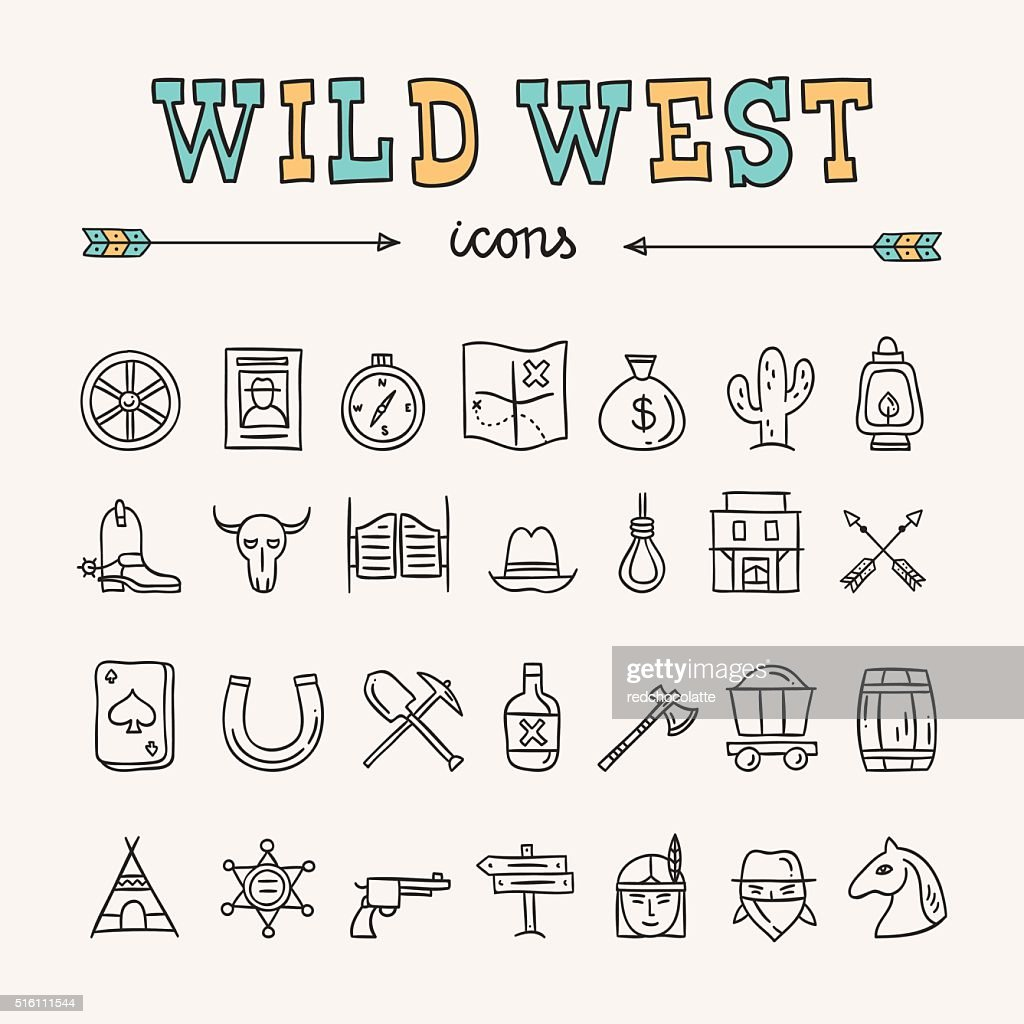 Outline wild west icons. Hand drawn wild west doodles